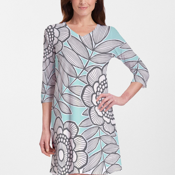 Salt Air Turquoise Cotton V-Neck Swing Dress - Fanciful aqua, black and white floral print designed by Diane Kappa - Pike Creek Boutique