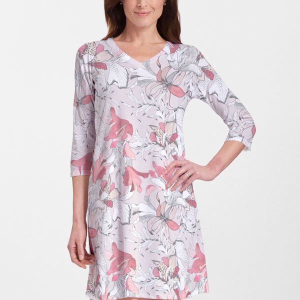 Pen and Ink Lily Beige Cotton V-Neck Dress - Gorgeous floral print with pink, coral and white lilies - Pike Creek Boutique