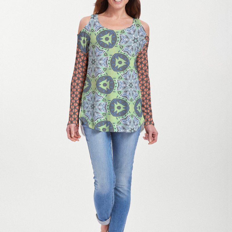 Geo Safari Cold Shoulder blouse - Eclectic mix of turquoise blue, green and orange geometric print with contrasting sleeve designed by JoAnn Lieberman-Pike Creek Boutique