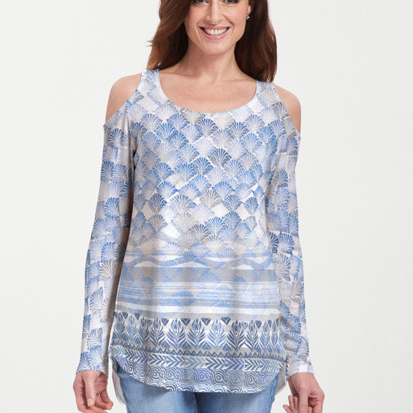 Shells Blue Cold Shoulder Blouse - Seaside blue geometric, hand-crafted artisan block print designed by Sigrid Olsen - Pike Creek Boutique