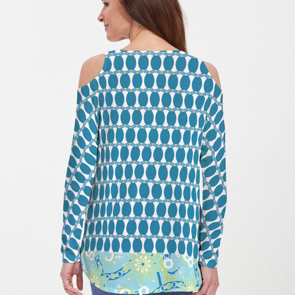 Mod Dot Navy Cold Shoulder Blouse -Geometric blue, lime and white print designed by Debra Valencia - Pike Creek Boutique