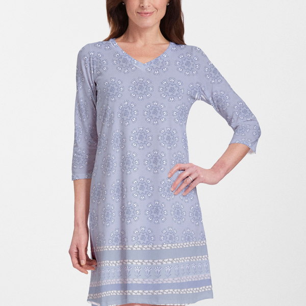 Maui Grey (2299) ~ V-neck Swing Dress - Pike Creek Boutique