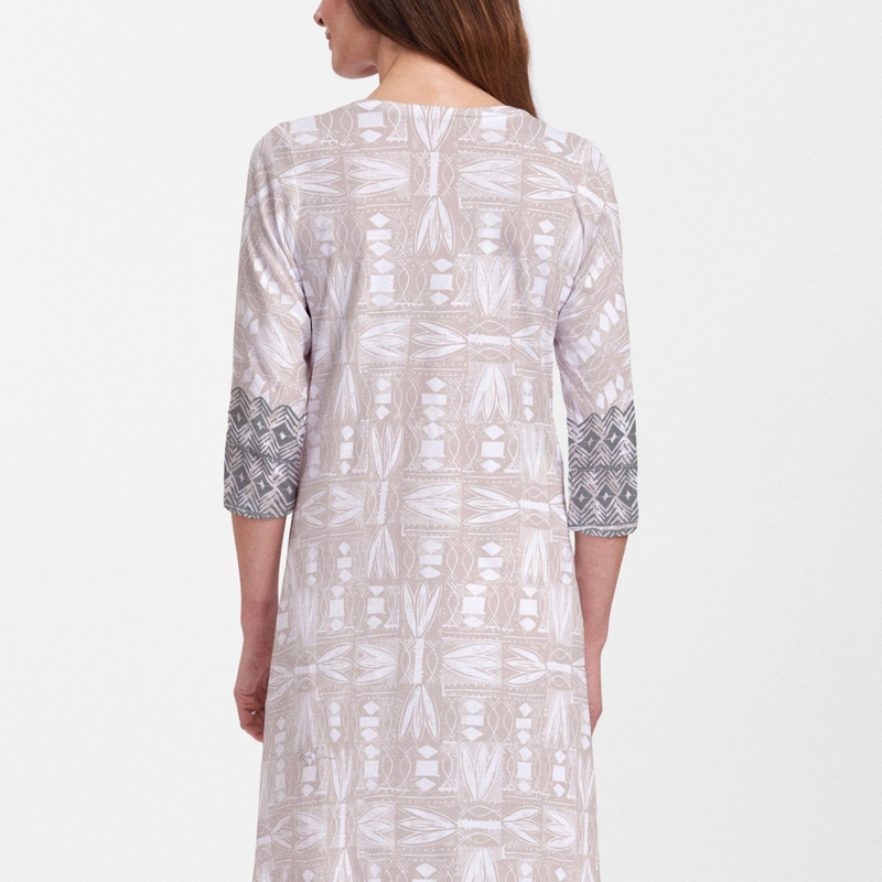 Shaded Sand cotton v-neck swing dress - Soft coastal beige, black and white hand-crafted artisan block print with contrasting front and back print, designed by Sigrid Olsen - Pike Creek Boutique