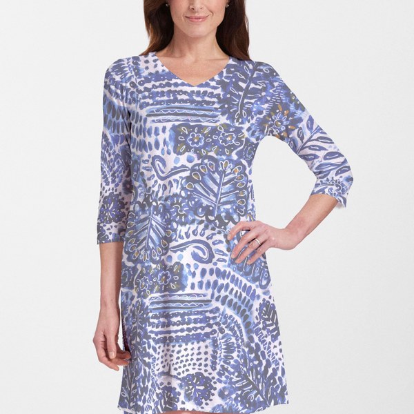 Mercedes Blue Cotton V-Neck Swing Dress - Mesmerizing abstract print in blue and white designed by Jeanetta Gonzales - Pike Creek Boutique