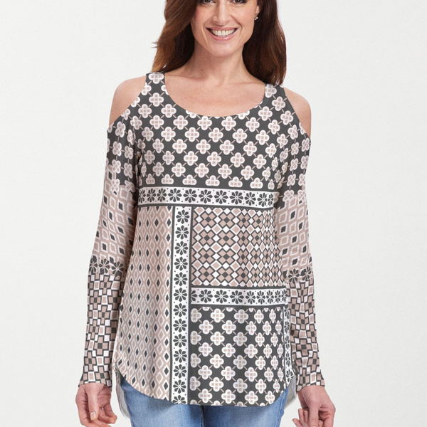 Miscellany Black Cold Shoulder Blouse - Intricate beige, black and white ornamental floral print designed by Teresa Woo-Murray - Pike Creek Boutique