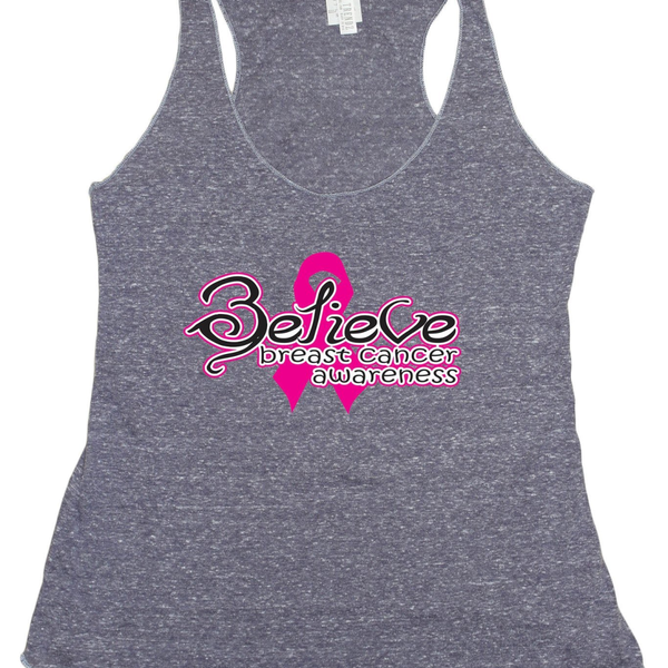 Women's BELIEVE Breast Cancer Awareness Tri blend Tank  - Pike Creek Boutique