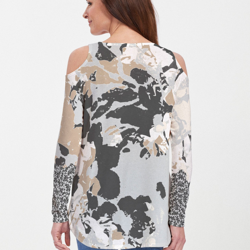 Frosted Gold Cold Shoulder Blouse - Abstract floral print with shades of blue, black and beige with contrasting accent on sleeves designed by Carolyn McNeil - Pike Creek Boutique