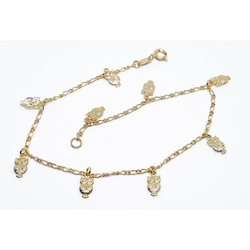 18kt Brazilian Gold Overlay Owl Charm Anklet. - Pike Creek Boutique