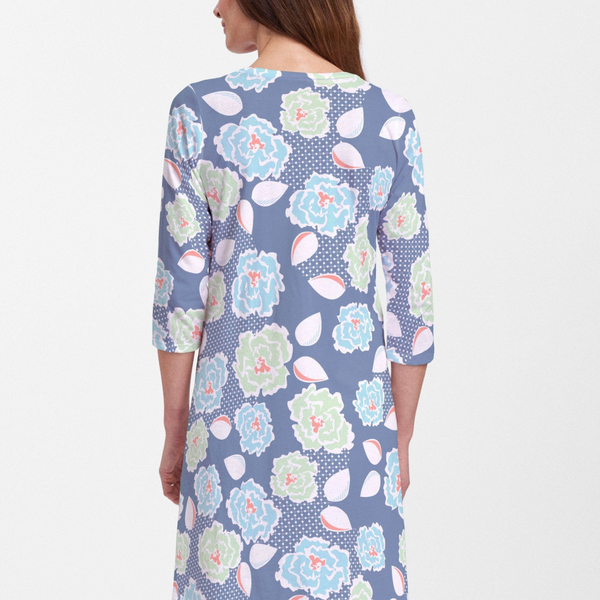 Knots Floral Navy Cotton V-Neck Swing Dress - Fun navy nautical print with contrasting bright lime green, coral and aqua florals designed by Alison Hoenes. Cotton/Polyester blend - Pike Creek Boutique