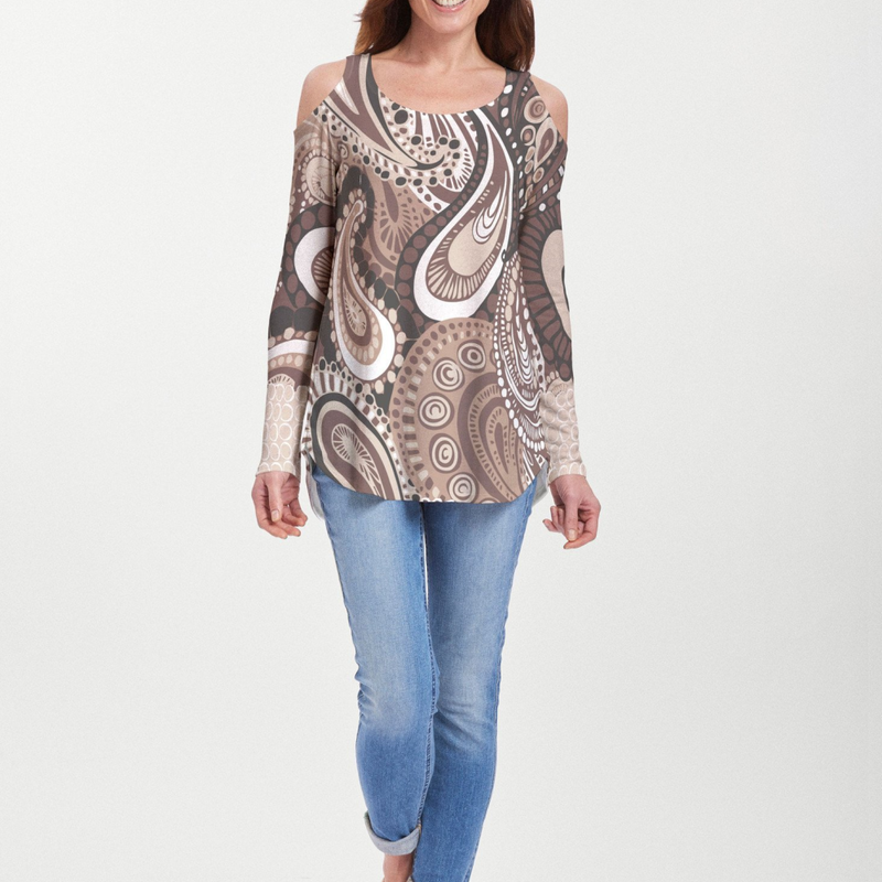 Rich dark to milk chocolate brown and beige paisley print blouse designed by Amanda Caronia