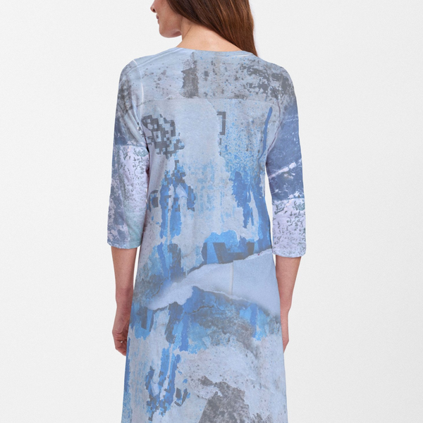 Miami Cotton V-Neck Swing Dress - Hip photographic assemblage in a multi-Blue print artwork by Alyssia Lazin - Pike Creek Boutique