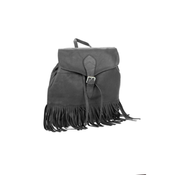 Lady's Genuine Black Leather Drawstring Backpack - Pike Creek Boutique