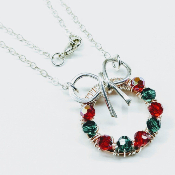 Christmas Ribbon Crystal Wreath Necklace