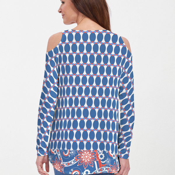 Mod Dot Red White and Blue Cold Shoulder Blouse - A favorite print reimagined in inspiring Red, White & Blue and celebration ready as part of our Spirit Collection designed by Debra Valencia - Pike Creek Boutique