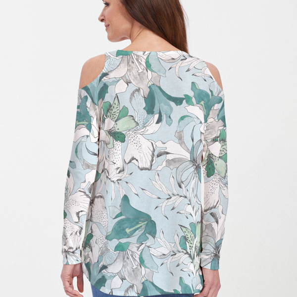Pen and Ink Lily Seafoam Cold Shoulder Blouse - Gorgeous floral print with light blue, teal and white lilies - Pike Creek Boutique