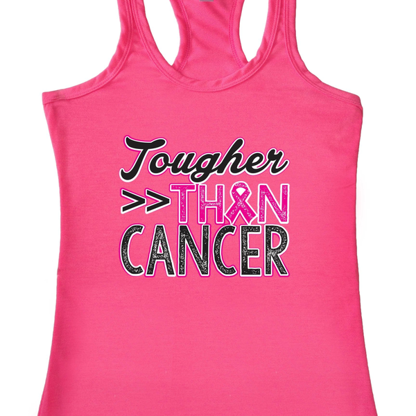 "Women's ""Tougher than Cancer"" Breast Cancer Awareness Racerback TANK PINK"