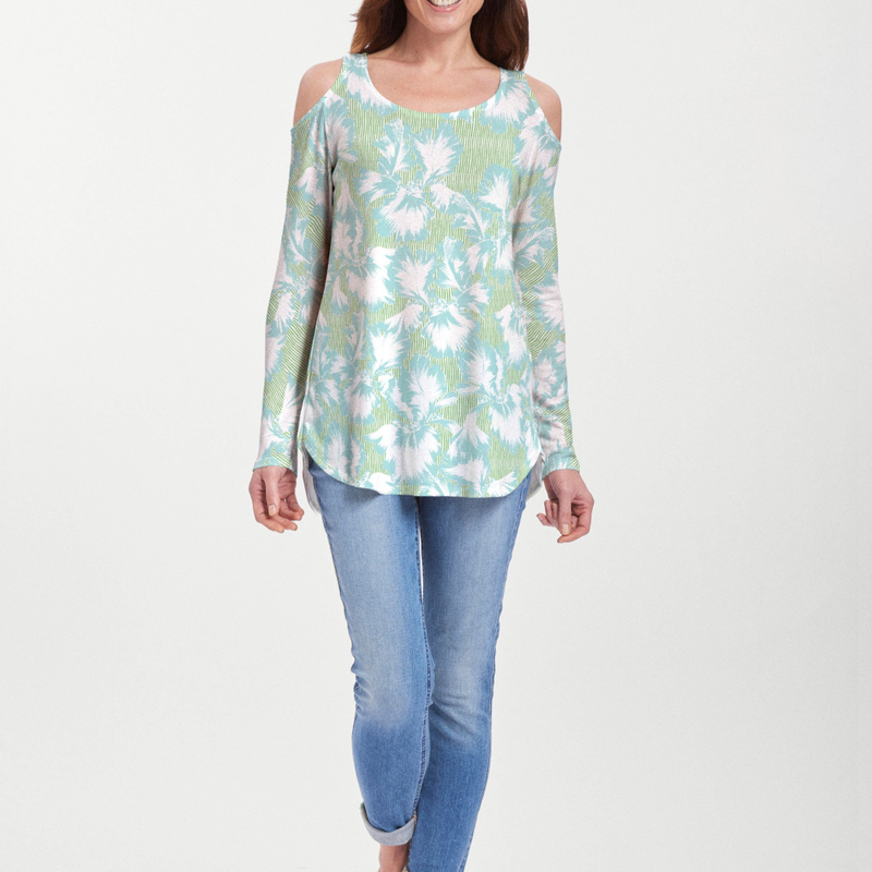 Graphic Floral Stripe Green Cold Shoulder Blouse - Stunning floral print in aqua and white with green stripes - Pike Creek Boutique