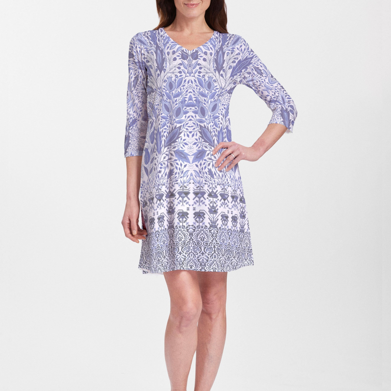 Inzik Blue Cotton V-Neck Swing Dress - Fanciful floral print in shades of navy, blue and white - Pike Creek Boutique