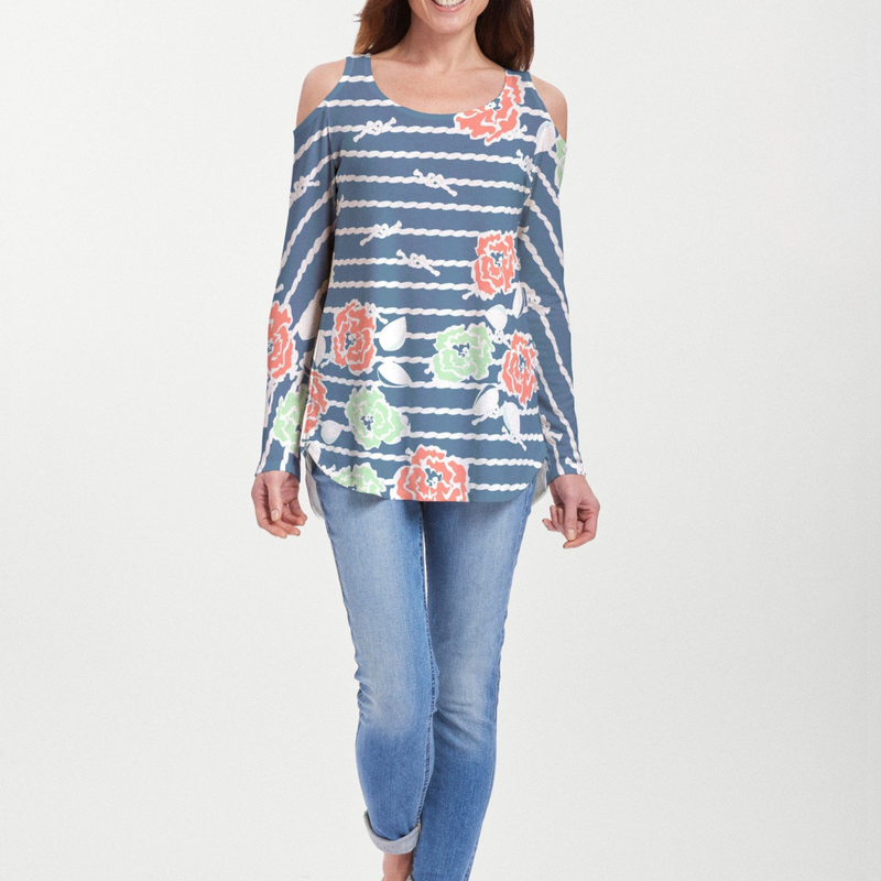 Knots Floral Navy Cold Shoulder Blouse - Fun navy nautical print with contrasting bright lime green, coral and aqua florals designed by Alison Hoenes - Pike Creek Boutique