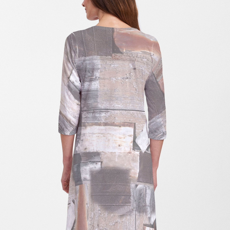Bold blocks of texture in neutral hues of grey, black, brown and beige dress designed by Alyssia Lazin - Pike Creek Boutique