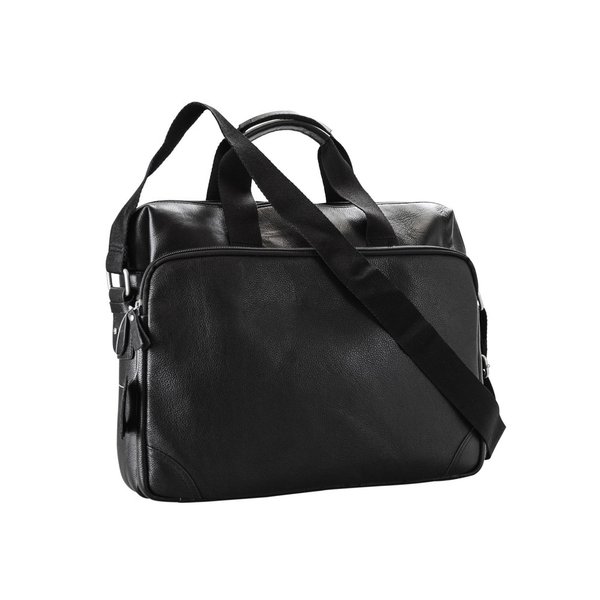 Genuine Black Leather Slim Double Handle Briefcase - Pike Creek Boutique