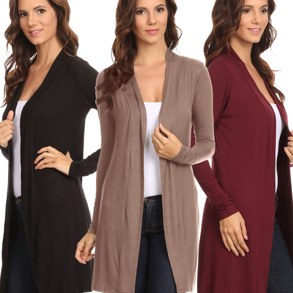 3 Pack Women's Long Cardigan Open Front S to 3X: BLACK/MOCHA/BURG - Pike Creek Boutique