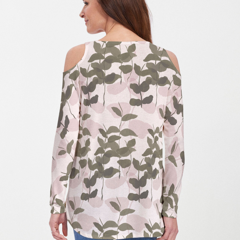 On Pink Cold Shoulder Blouse - Abstract floral print in pink and olive green - Pike Creek Boutique