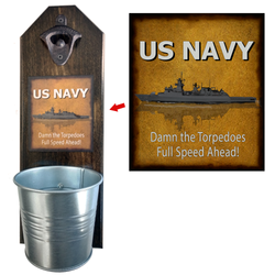 US Navy Bottle Opener - These well-made, handcrafted old fashion bottle openers make the perfect gift for home brewers, local craft beer makers, mini bars, house warming or retirements, Groomsmen Gifts, or anyone who opens bottles! Just pop the tops and let them fall - Pike Creek Boutique