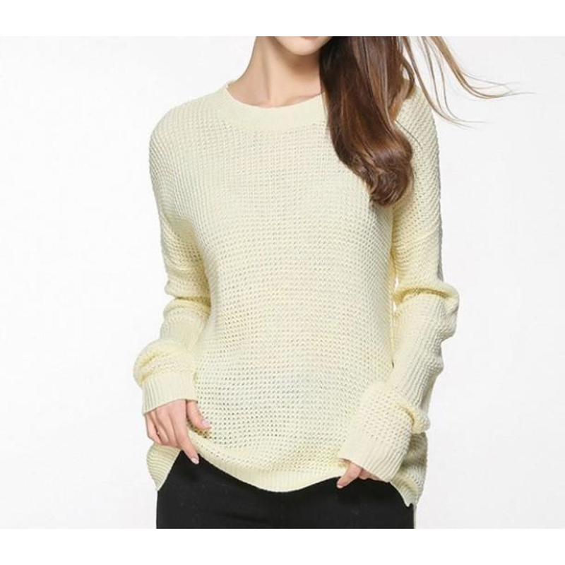 Women's Relaxed Fit Round Neck Sweater in Beige - Pike Creek Boutique