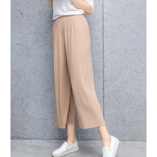 Women's Flowy Chiffon Wide Leg Pants - Beige - Pike Creek Boutique