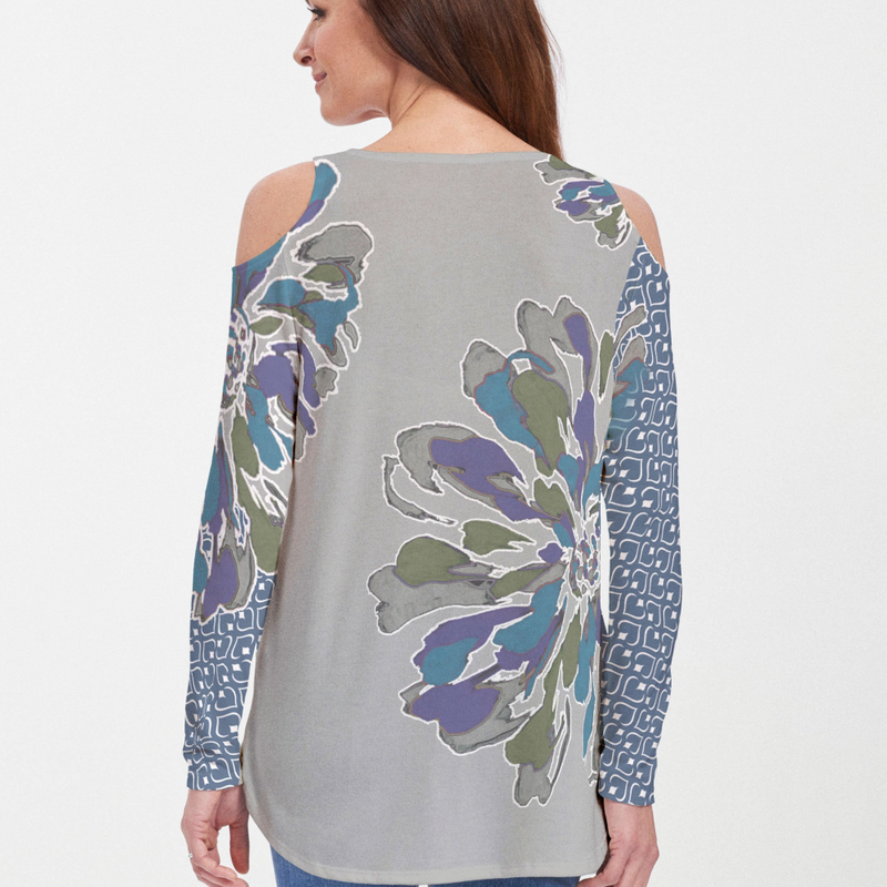 Fanny Grey Mixed - Fun mixed bold floral print with contrasting geometric sleeves in grey and navy designed by Whimsy Rose. This print is a limited release and only available on our long sleeve tops Cold Shoulder Blouse - Pike Creek Boutique