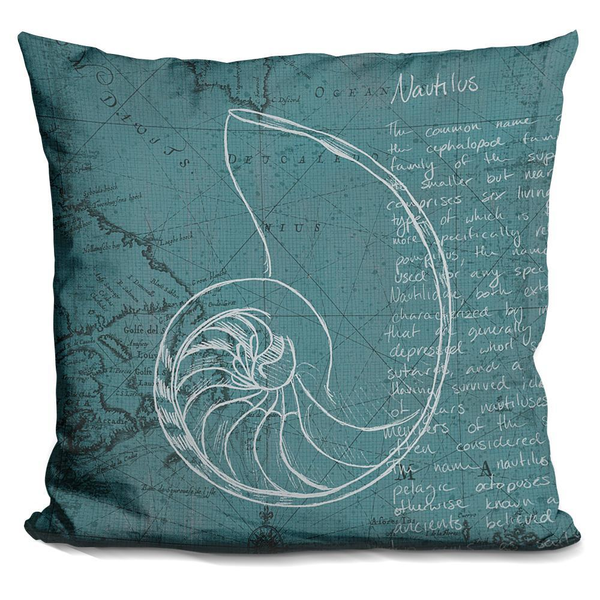 Coastal Blueprint V Nautilus Pillow - Pike Creek Boutique