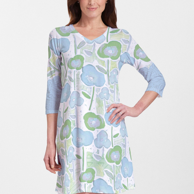 Creative lime green, blue and white floral watercolor design dress by Jeanetta Gonzales - Pike Creek Boutique