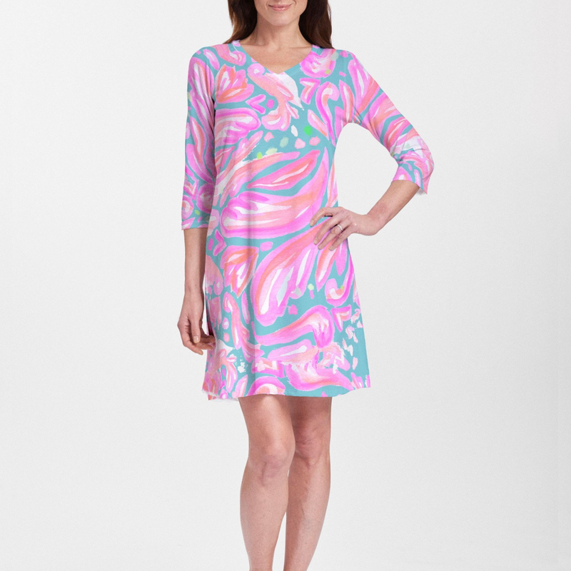 Abstract floral print with bold shades of turquoise, pink and orange designed by Jeanetta Gonzales V-neck Swing Dress - Pike Creek Boutique