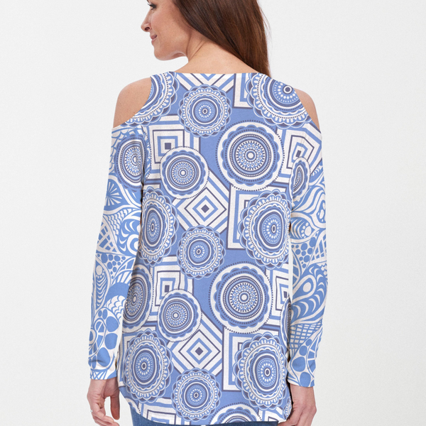 Fun and whimsical geometric print blouse with contrasting geometric design on the back in blue and white - Pike Creek Boutique