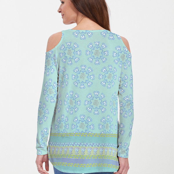 Maui Aqua (2298) ~ Cold Shoulder Tunic - Pike Creek Boutique