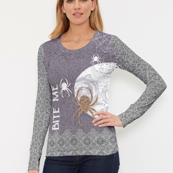 Nothing speaks to Halloween like creepy, crawly spiders to spark the Halloween Spirit. A limited edition statement tee with contrasting back design in black, grey, purple and orange by Diane Kappa - Pike Creek Boutique