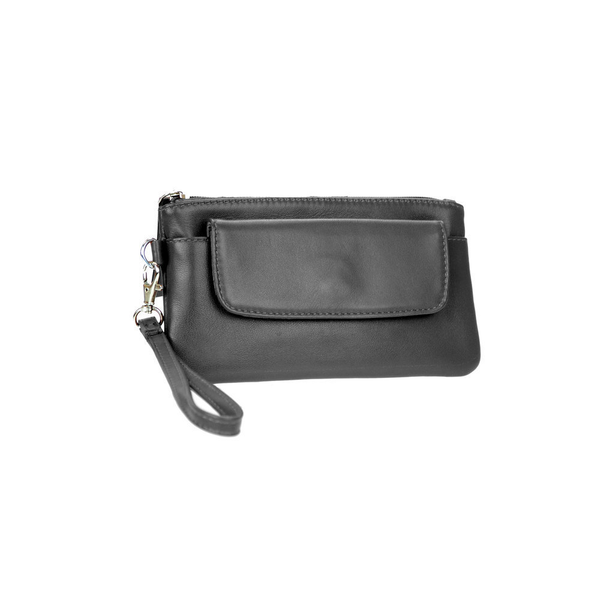Lady's Genuine Black Leather Wristlet - Pike Creek Boutique