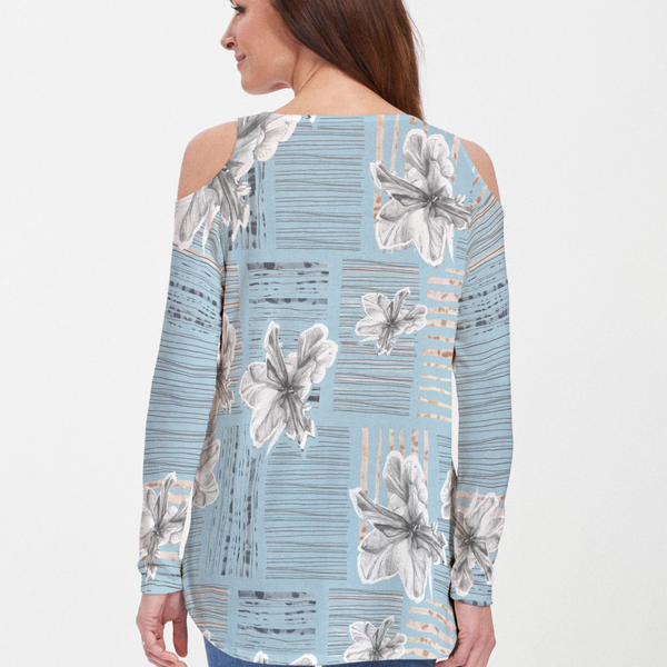 Iris Stripe Blue Cold Shoulder Blouse - Artistic pen & watercolor iris blooms with striking blocked strokes of navy, beige and black on a light blue background - Pike Creek Boutique
