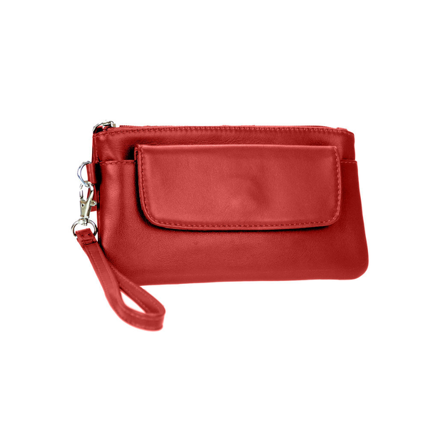 Lady's Genuine Red Leather Wristlet - Pike Creek Boutique