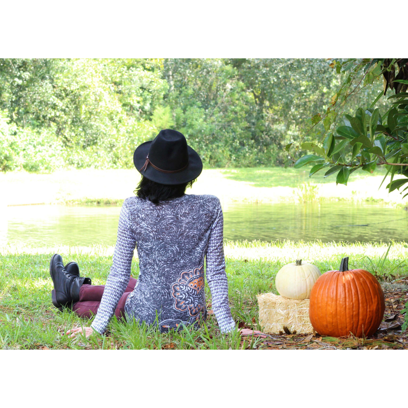 Hoo's There Halloween Shirt - Looking forward to giving a fashion feel to their Halloween Spirit? A limited edition Hooting Owl statement tee with contrasting back design in black, grey, purple and orange by Diane Kappa. Cotton. - Pike Creek Boutique