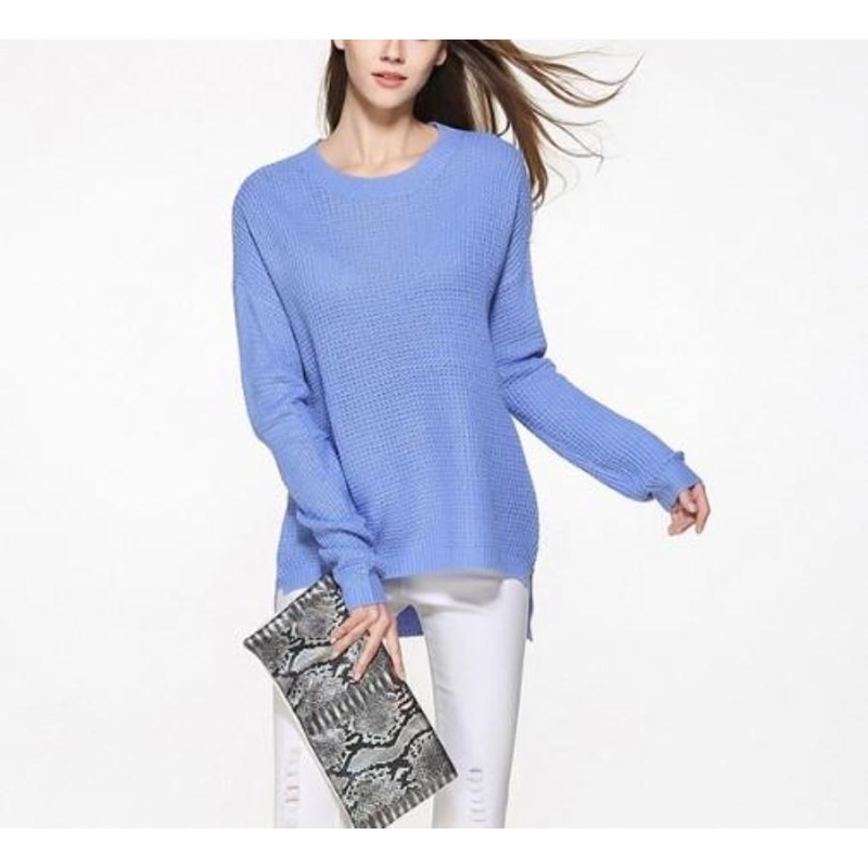 Women's Relaxed Fit Round Neck Sweater in Blue - Pike Creek Boutique