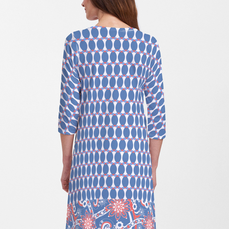 Mod Dot Red White and Blue V-Neck Swing Dress - A favorite print reimagined in inspiring Red, White & Blue and celebration ready as part of our Spirit Collection designed by Debra Valencia - Pike Creek Boutique