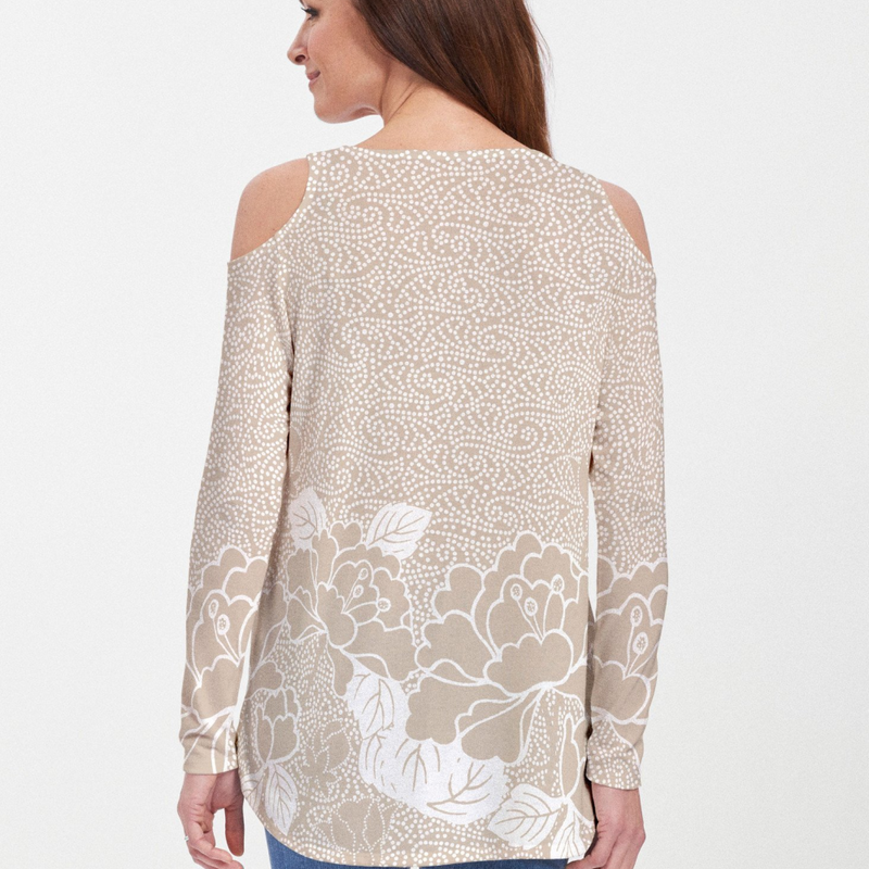 Dazzling intricate beige and white floral print blouse by Teresa Woo-Murray