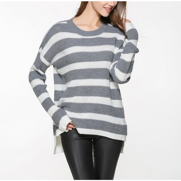 Womens Stripe Relaxed Fit Round Neck Sweater - Pike Creek Boutique