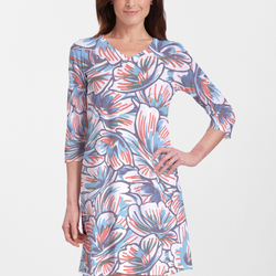 Fanciful and fun bold floral print dress in navy blue, aqua and orange - Pike Creek Boutique