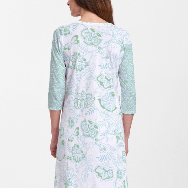 Namaste Green Cotton V-Neck Dress - Beautiful floral print in aqua and green with contrasting sleeves designed by Diane Kappa - Pike Creek Boutique