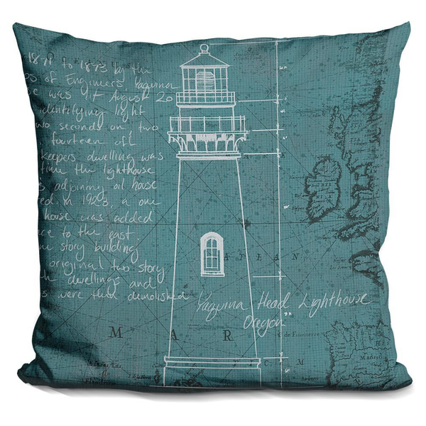 Coastal Blueprint VII Lighthouse Pillow - Pike Creek Boutique