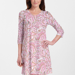Handpainted Paisley Pink V-Neck Cotton Swing Dress - Abstract floral print in pink, olive green and white - Pike Creek Boutique