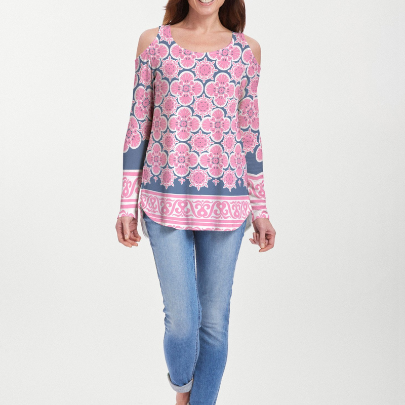 Isabella Pink Cold Shoulder Blouse - Retro floral design in bright fuchsia and navy with a contrasting trim designed by Teresa Woo-Murray - Pike Creek Boutique